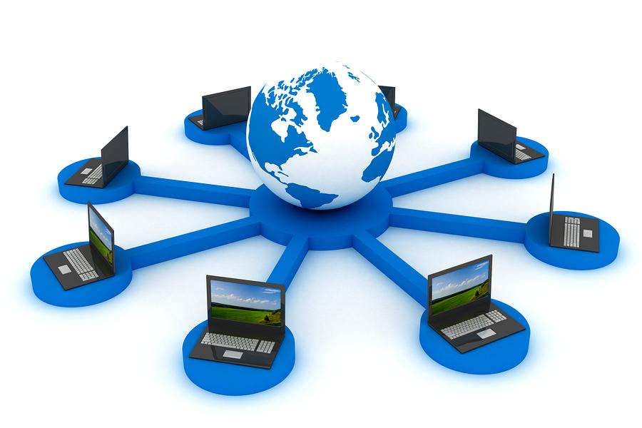 Global network the Internet. 3D image. Illustrations.